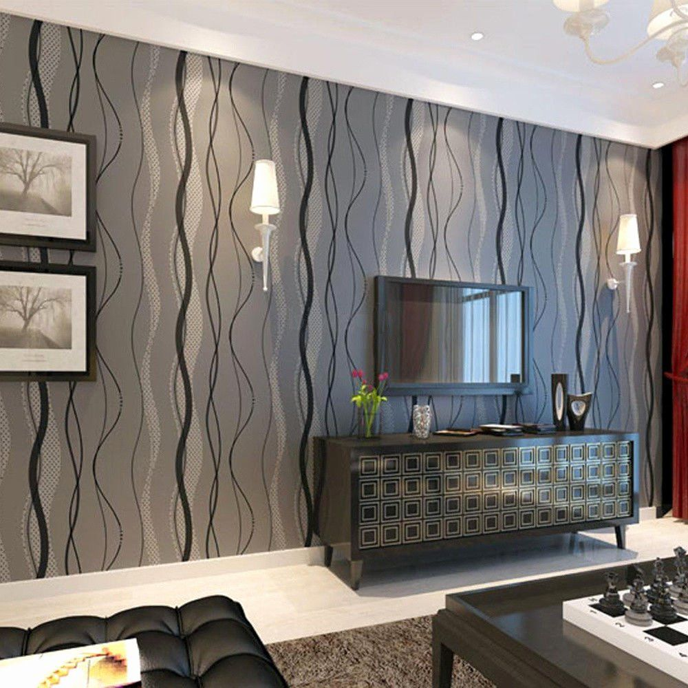 Feature Wall Idea Living Room Wallpaper Lovely Black Grey