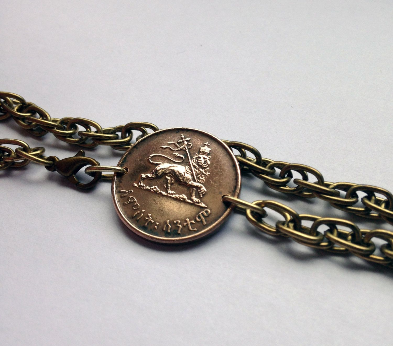 1944 Ethiopia 5 Santeem coin chain link bracelet jewelry Rastafari