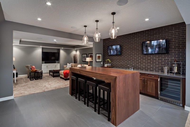 Bar With Simple Thick Wood Table Brick Backsplash Grey