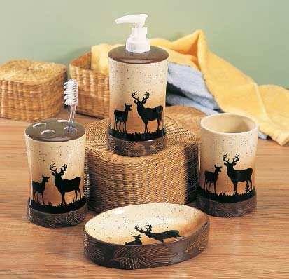 Rustic Northwoods Deer Bathroom Vanity Set Hunting Bathroom Camo Bathroom Decor