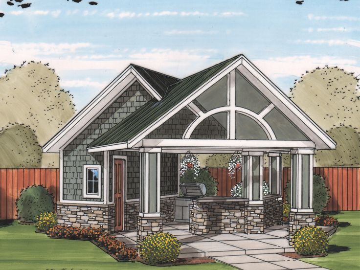 Pool House With Outdoor Kitchen 050p 0001 Pool House Plans Pool House Designs Pool Houses