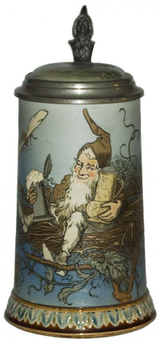 Dwarf In Nest Schlitt Mettlach Stein W Inlay Lid Beer