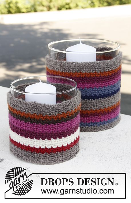 Ravelry: 144-21 Cottage Candle - Large and small cover for glass vase with stripes in Karisma by DROPS design... Free crochet pattern!