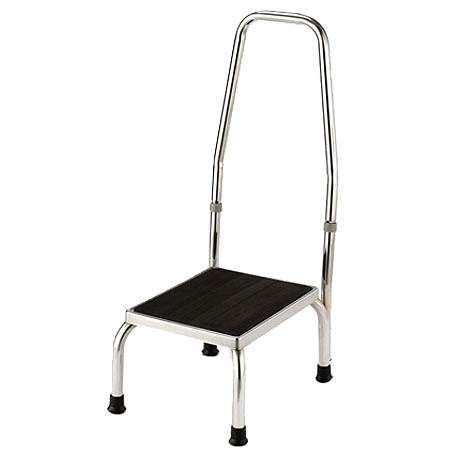 Essential Medical Safety Foot Stool With Handle Chrome Plating Health Care Hospital Chrome