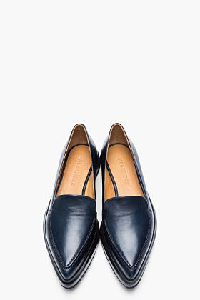 83df11f5ab66 JIL SANDER Navy Leather Pointed Creeper Flats  Courtney Baker LaLa + form