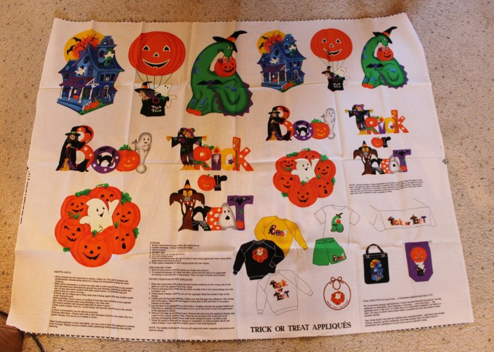Halloween Fabric, Large Appliques with Instructionsa, Cranston Print Works Co. by ilovevintagestuff on Etsy