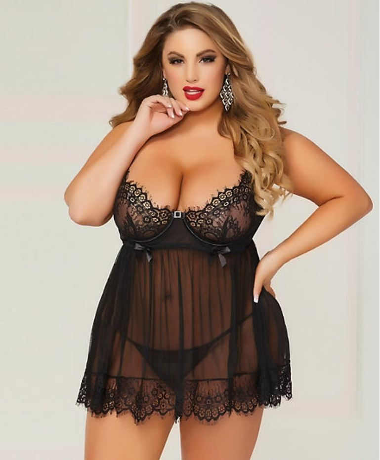 8e9b61939 SEVEN  TIL MIDNIGHT PLUS SIZE BED OF ROSES BABYDOLL SET