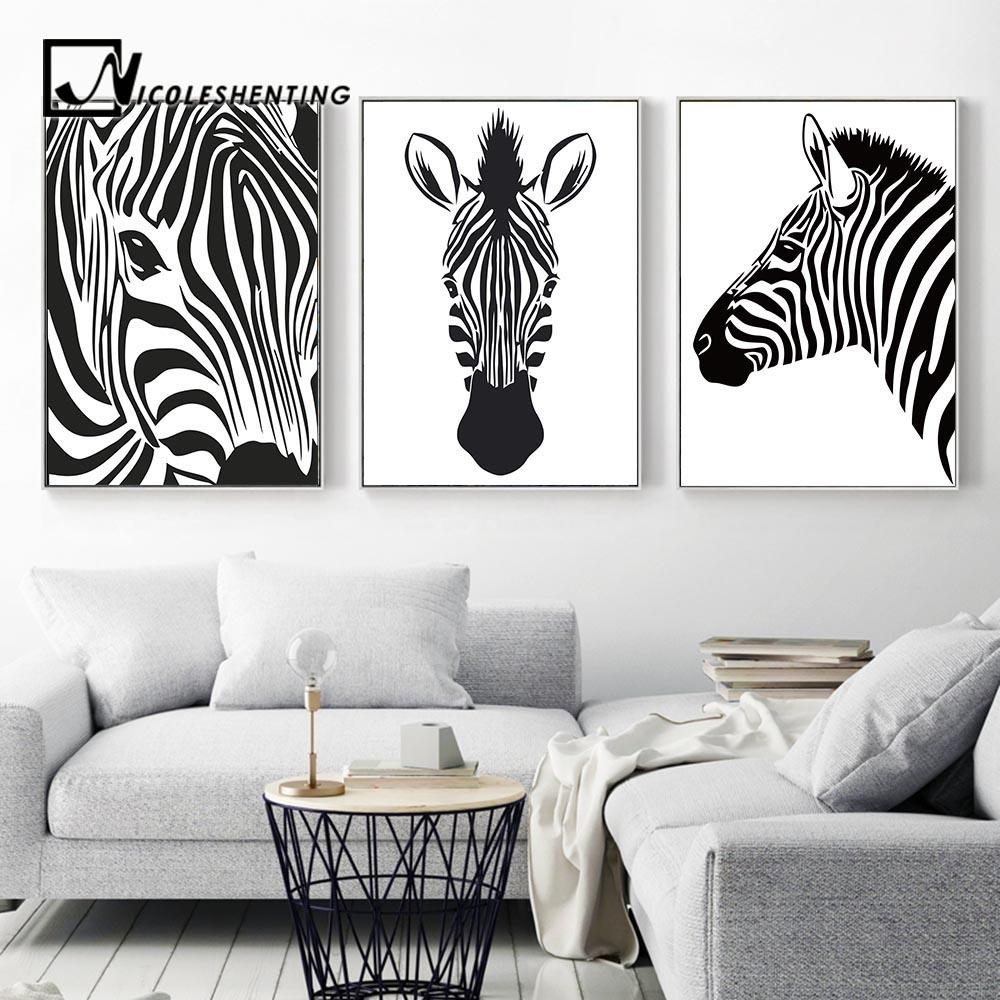 Black White Animal Zebra Wall Art Canvas Posters and Prints Canvas ...