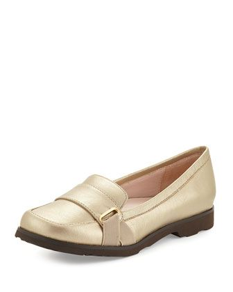 Jaz Metallic Napa Leather Loafer, Gold by Taryn Rose at Neiman Marcus Last Call.