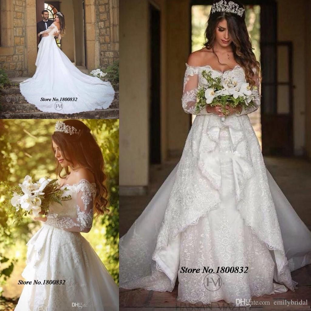 Cheap new country a line wedding dresses v neck long sleeves