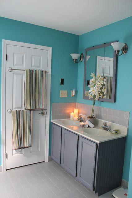 Updating The Abode Master Bath Bead Board Vanity Teal Bathroom