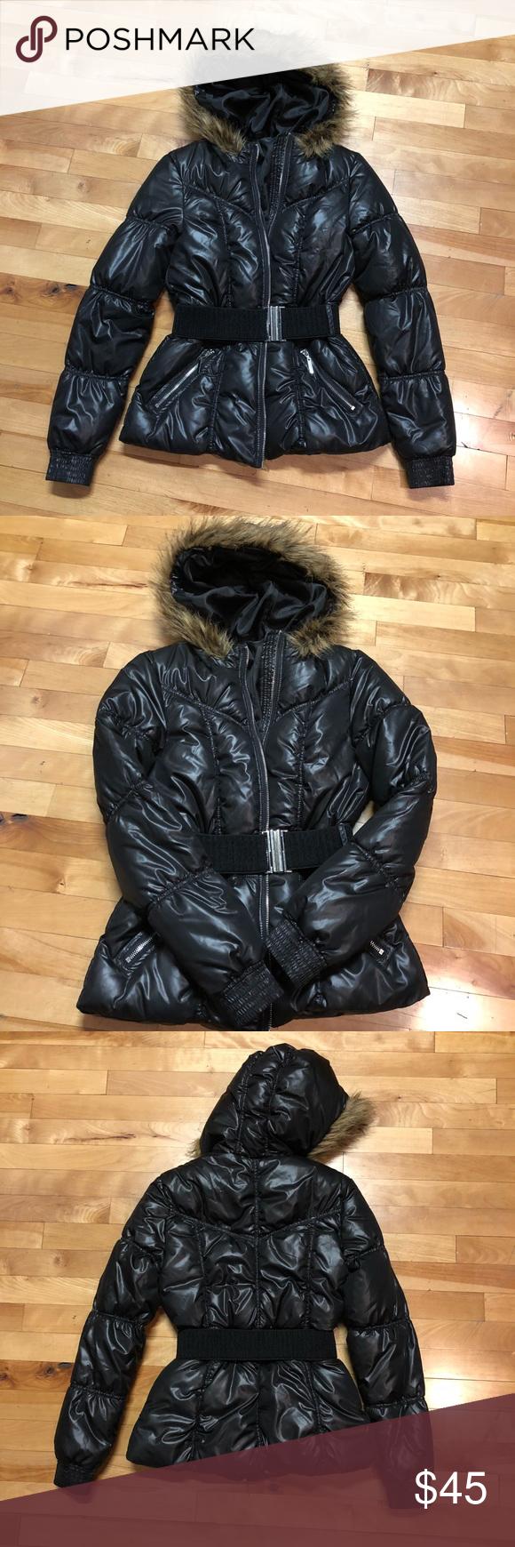 H & M Fur Black Puffer Down Jacket 6 Black puffer