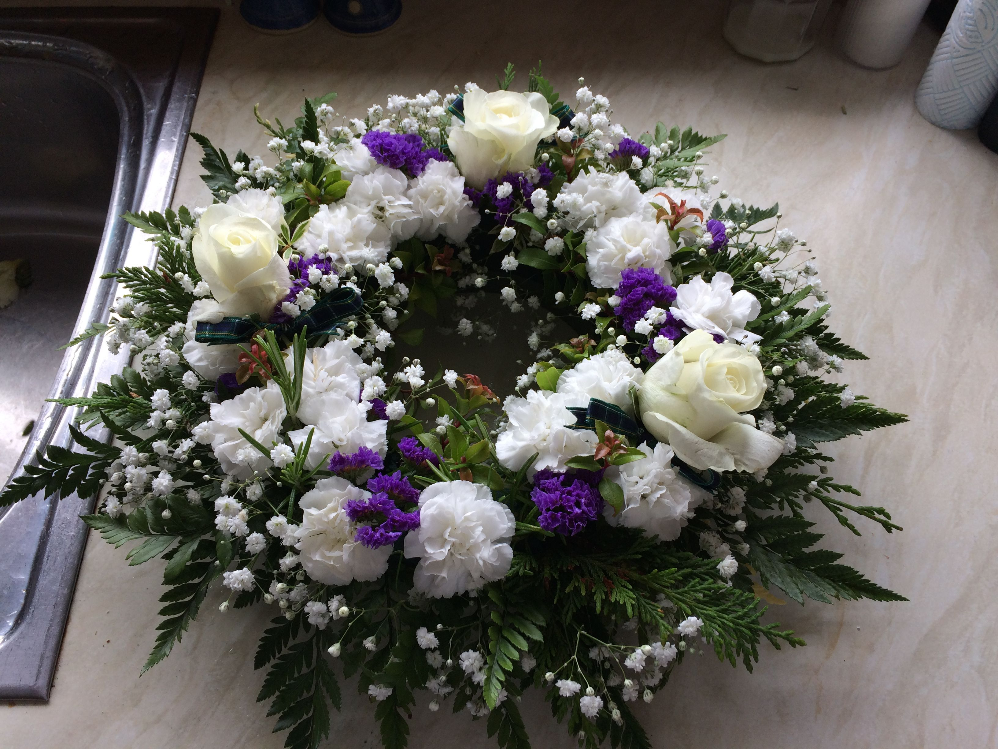 Scottish funeral wreath with carnations hearts and flowers scottish funeral wreath with carnations funeral carnations most beautiful wreaths garlands izmirmasajfo