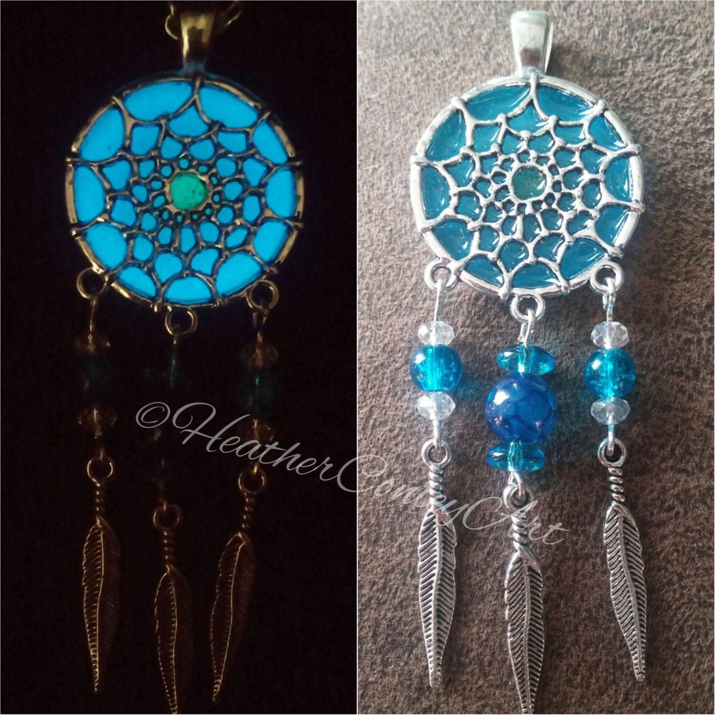 Aqua Blue Dreamcatcher Glow Necklace, Glow In The Dark, Blue