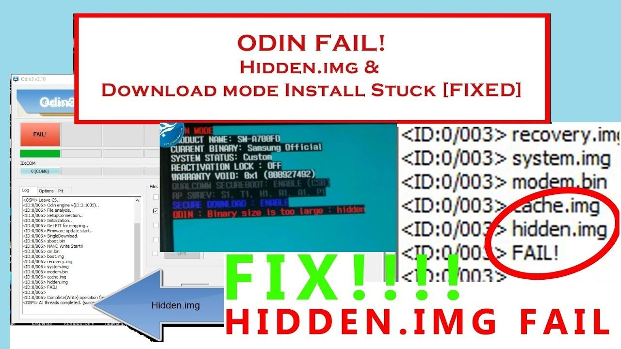 Samsung SOLVED!! Odin fail at hidden img, Softbrick