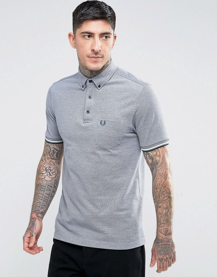 36242c214 Fred Perry Slim Fit Button Down Oxford Weave Polo In Navy - Navy