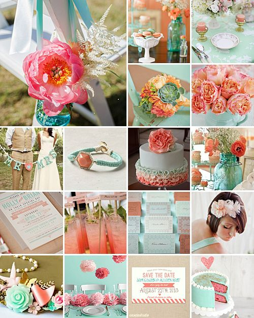 Mint Color Outdoor Ceremony Decorations: Mint And Coral Weddings