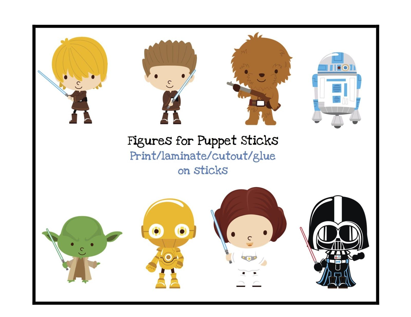 free starwars food tags | Free Star Wars Puppet Sticks | Star Wars ...