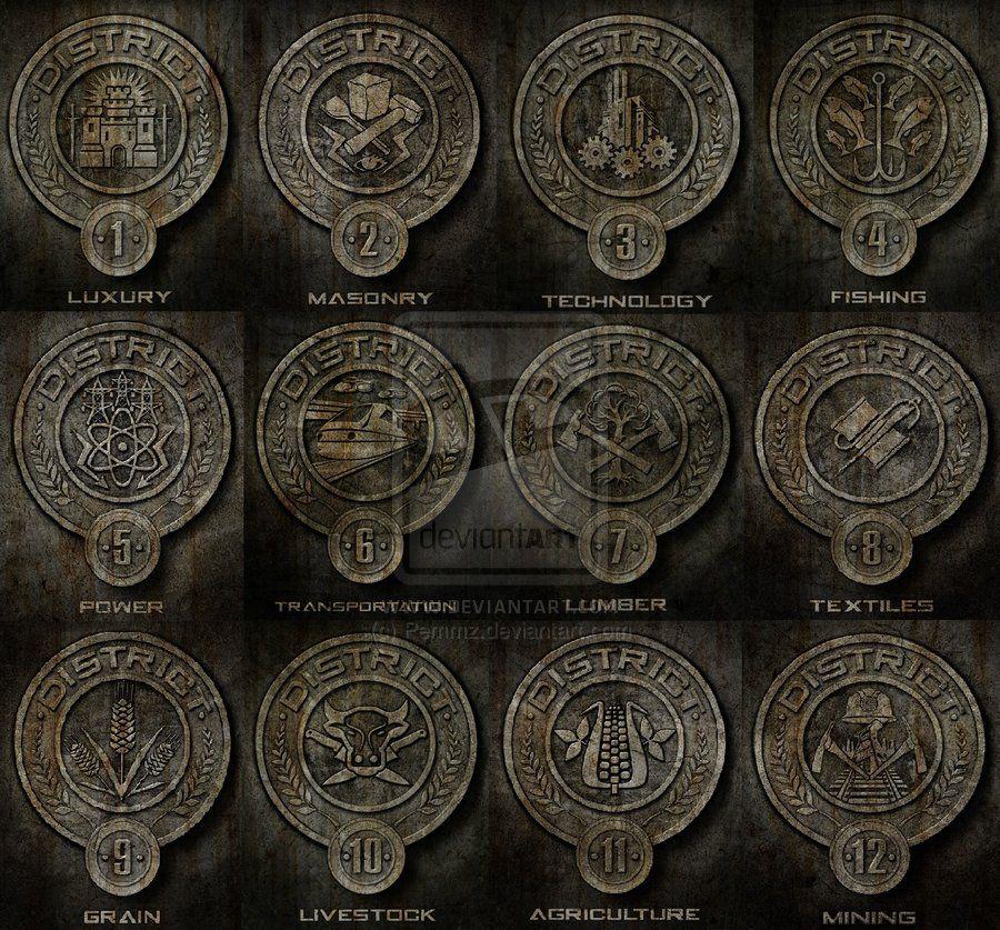 District Symbols The Hunger Games Pinterest Hunger Games