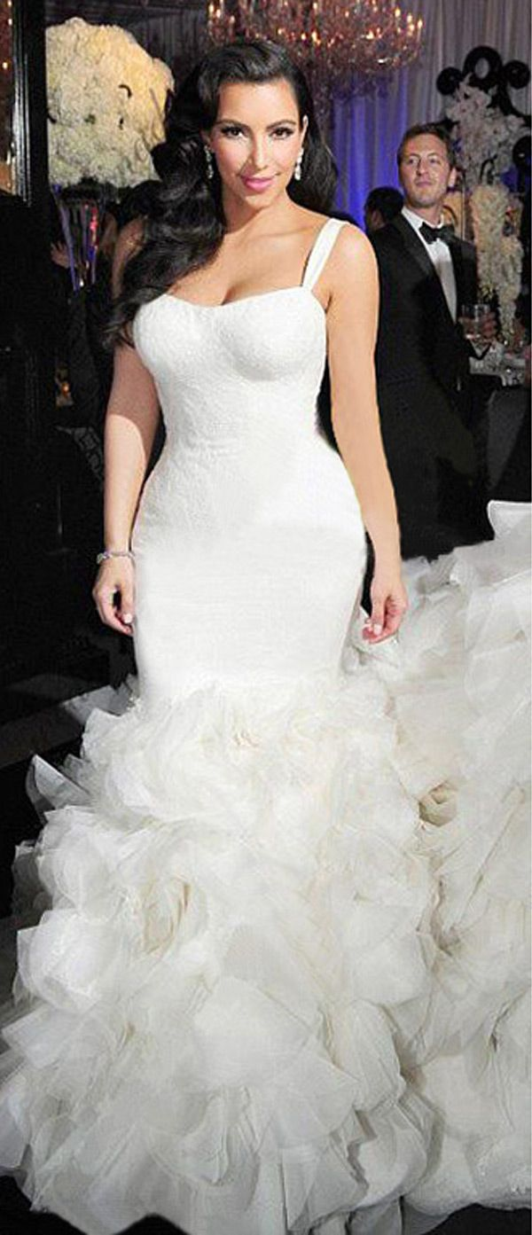 Marvelous organza u lace square neckline mermaid wedding dresses