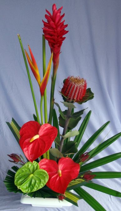 Lanui Hawaiian Christmas flower arrangement. Anthuriums in holiday red and green. Red ginger and bansia with safari sunset blooms.