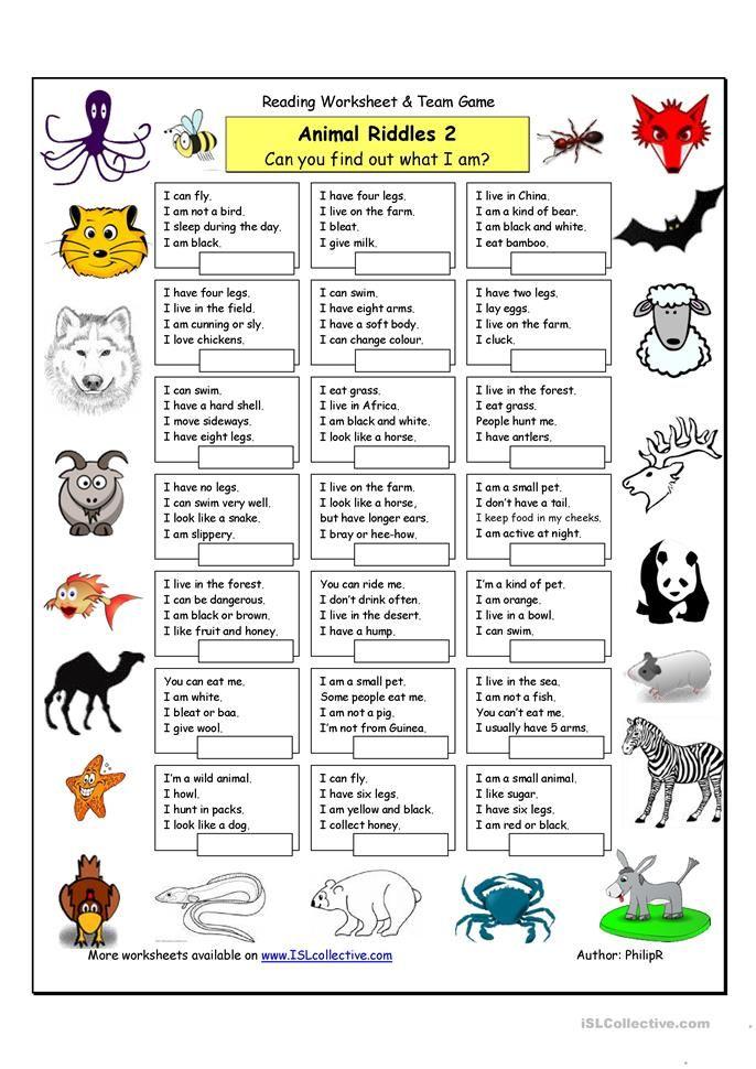 animal riddles 2 medium printables only free printables animal riddles teaching english. Black Bedroom Furniture Sets. Home Design Ideas