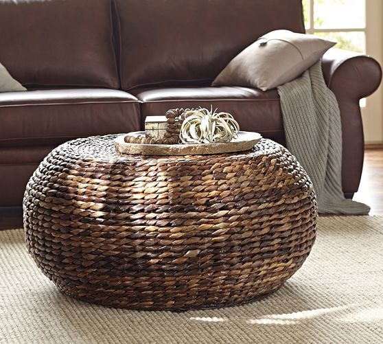 Round Woven Coffee Table Pottery Barn This But In A Rectangle