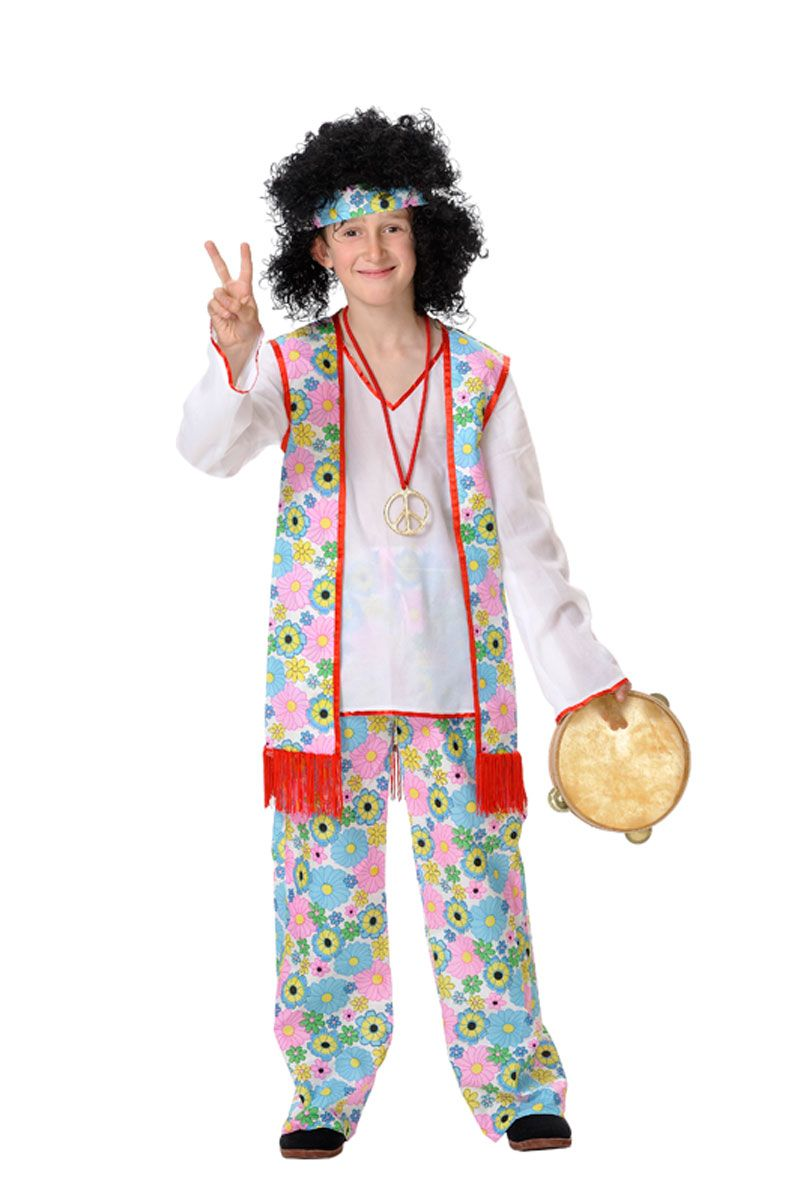 Disfracesmimo disfraz de hippie flores ni o varias tallas for Disfraces de los anos 60