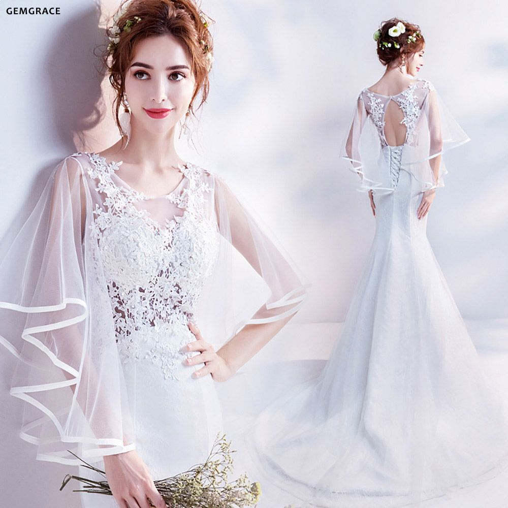 fairy wedding dress with sleeves