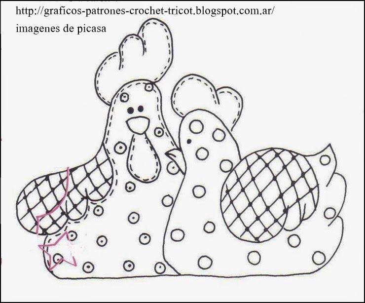 patrones de gallinas | Patchwork - Apliques | Molde, Pintura em ...