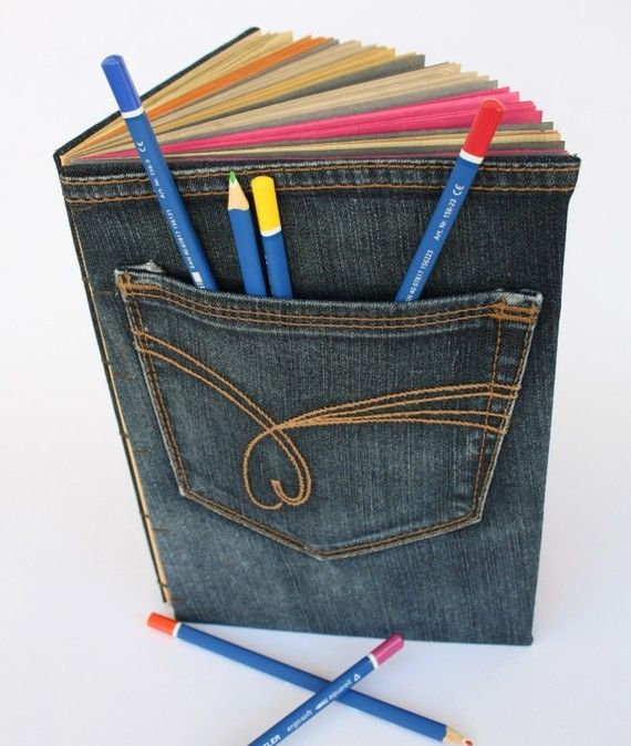 Great idea to glue recycled jeans onto a notebook- fun back to school idea.