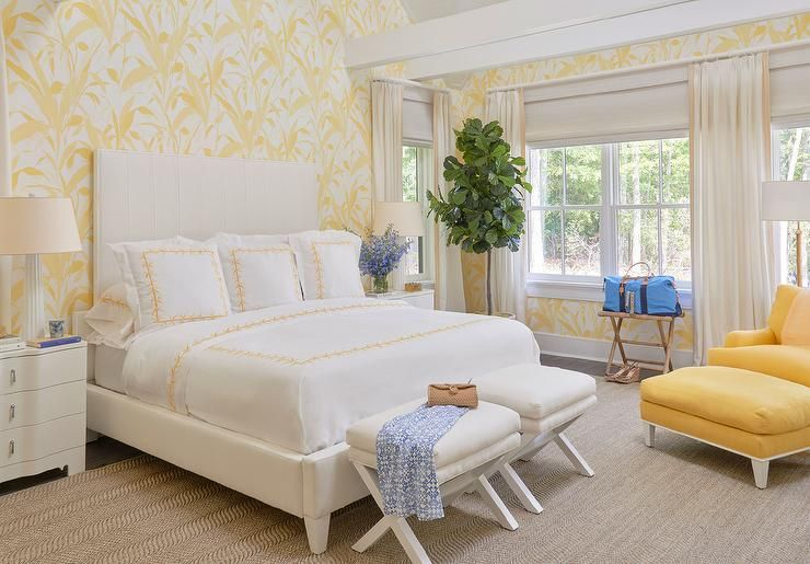 Say Sunshine With A Yellow And White Bedroom L Coastal Bedrooms L