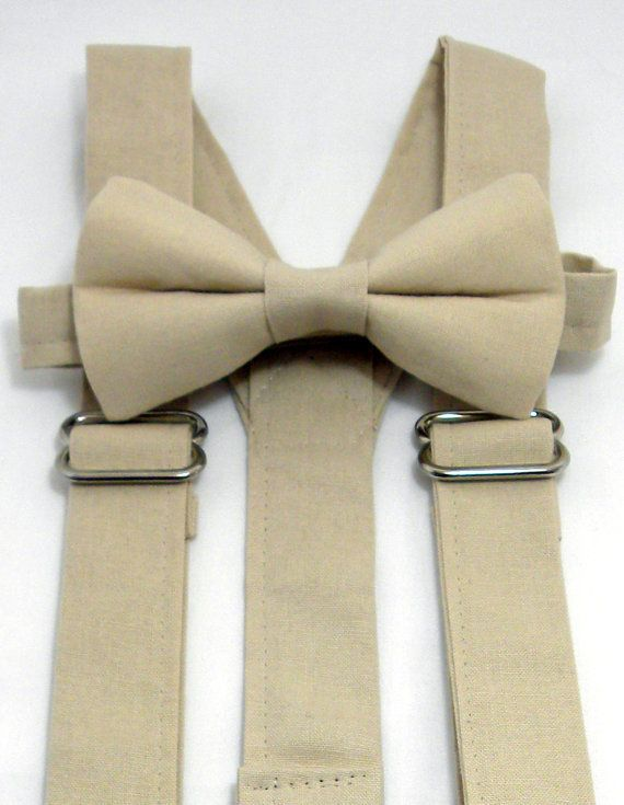e5c6542a6 On Sale  Champagne Beige Suspender and Bow Tie Set. by JHPCouture  25 set