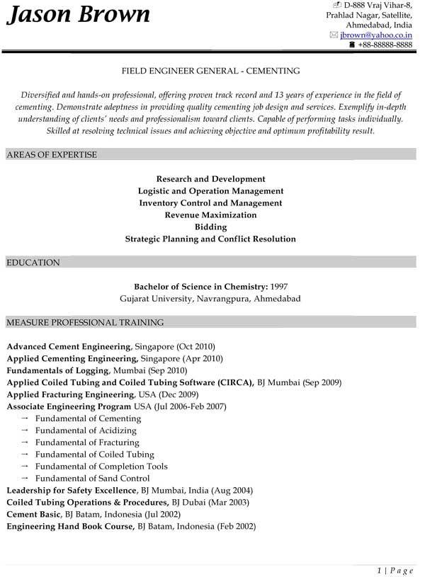 Field Engineer General Resume ---Cementing (Sample) Resume - airline pilot resume