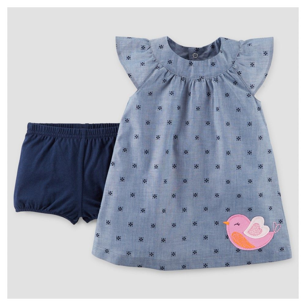 a16080189c Baby Girls  Pink Bird Dress Chambray 12M - Just One You Made by Carter s