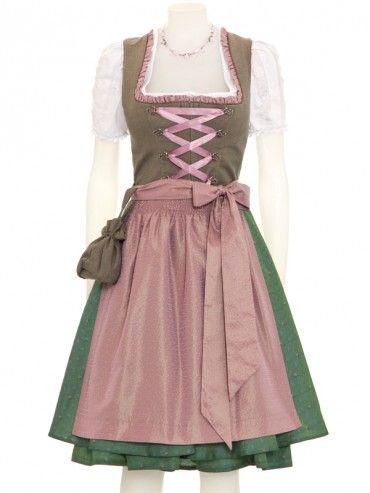 Exklusives Dirndl Rachel (braun/grün/rosé) - KINGA MATHE