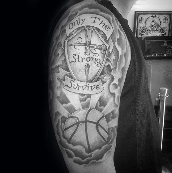 Tattoo Quotes With Cross: With Cross And Basketball Mens Only The Strong Survive Arm