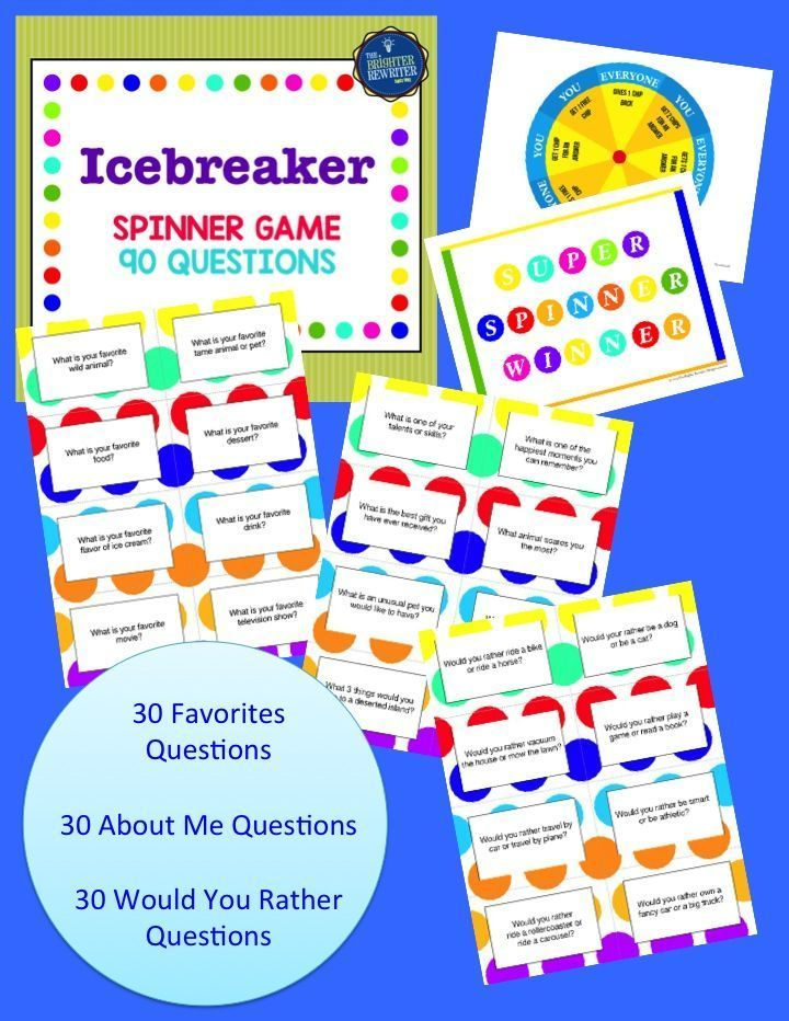 "Icebreaker Spinner Game for the first day or week of school is a wonderful ""get to know you"" group activity!"