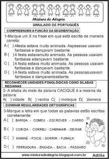Simulado De Portugues Ensino Fundamental Com Gabarito Atividades