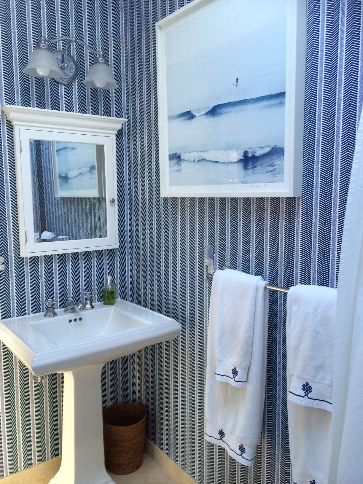Classic Navy Bath With Our Herringbone Wallpaper And Gobi Bath - Teal colored bath towels for small bathroom ideas