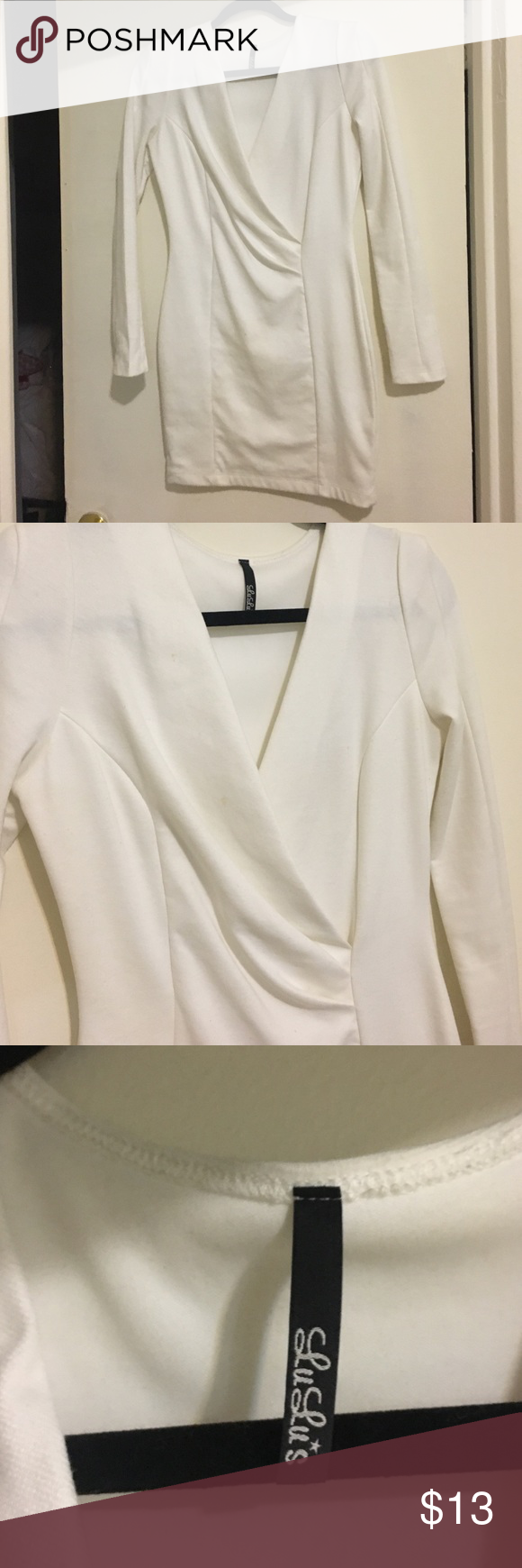White long sleeved dress Super cute white long sleeve dress. Minor imperfections than can be removed with a wash. Lulu's Dresses Long Sleeve