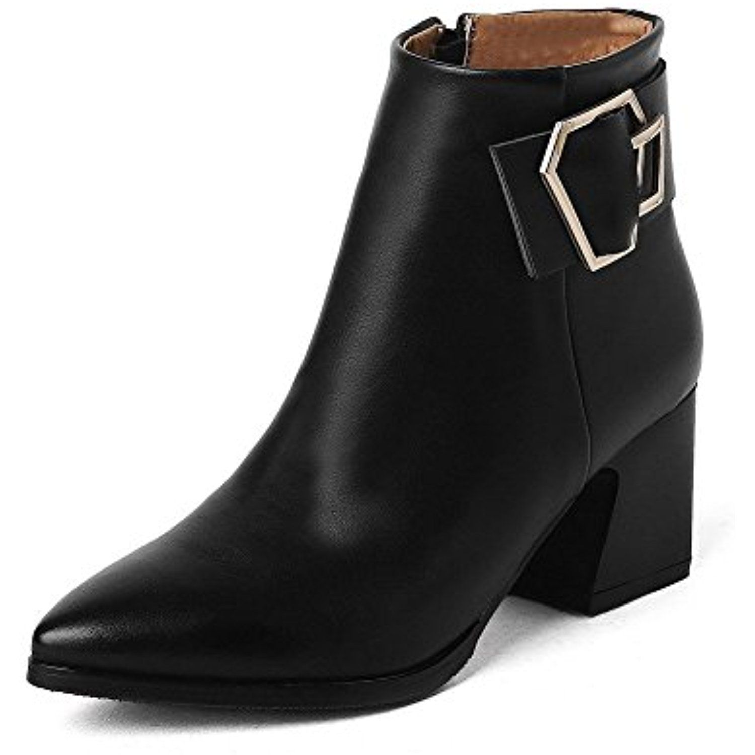Women's Pointed Closed Toe Kitten Heels Ankle High Solid Boots