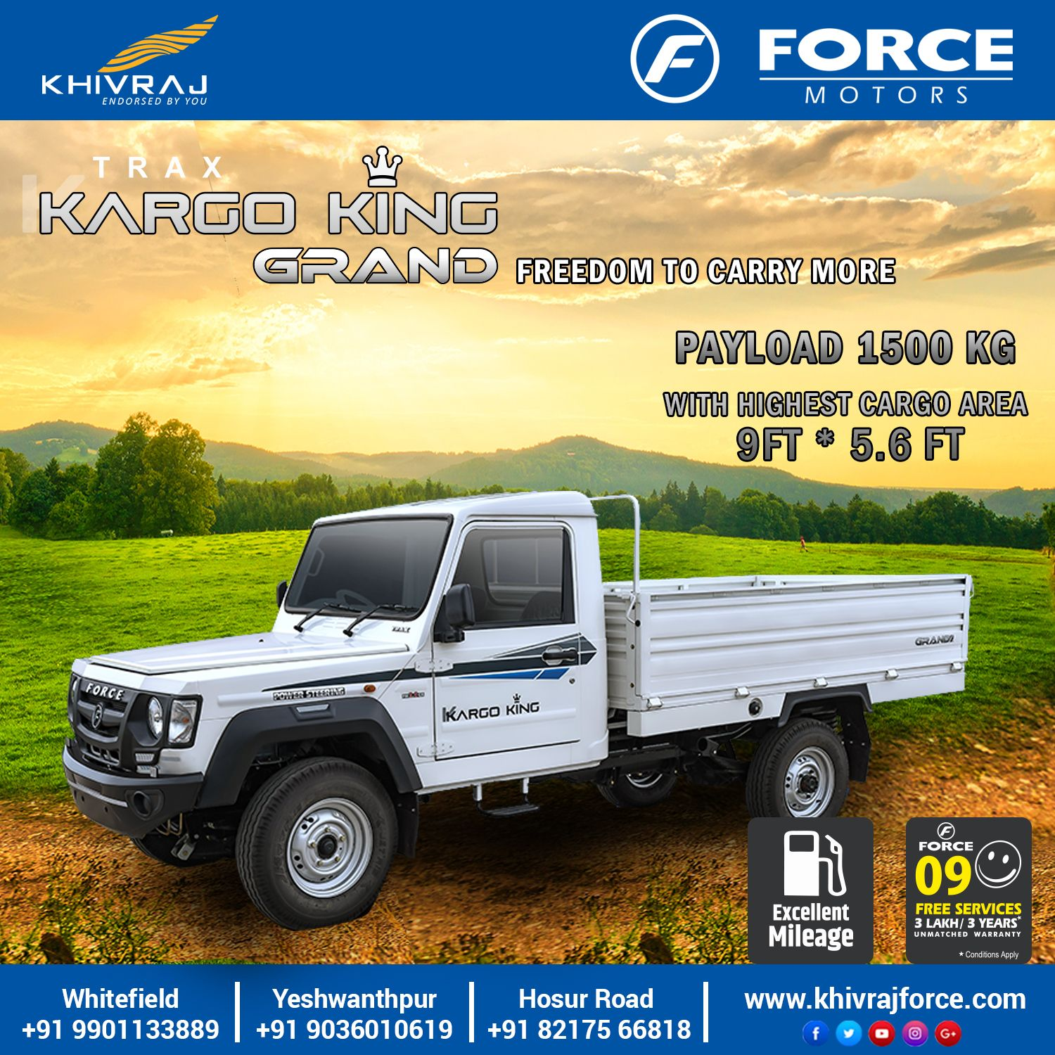 Kargo King Grand Turbo Charged Engine Commercial Vehicle Power To Weight Ratio