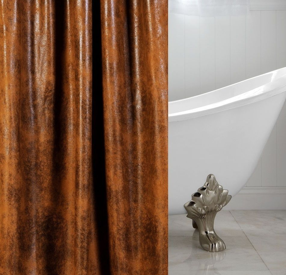 Cognac Faux Leather Custom Shower Curtain WDSC COGNAC