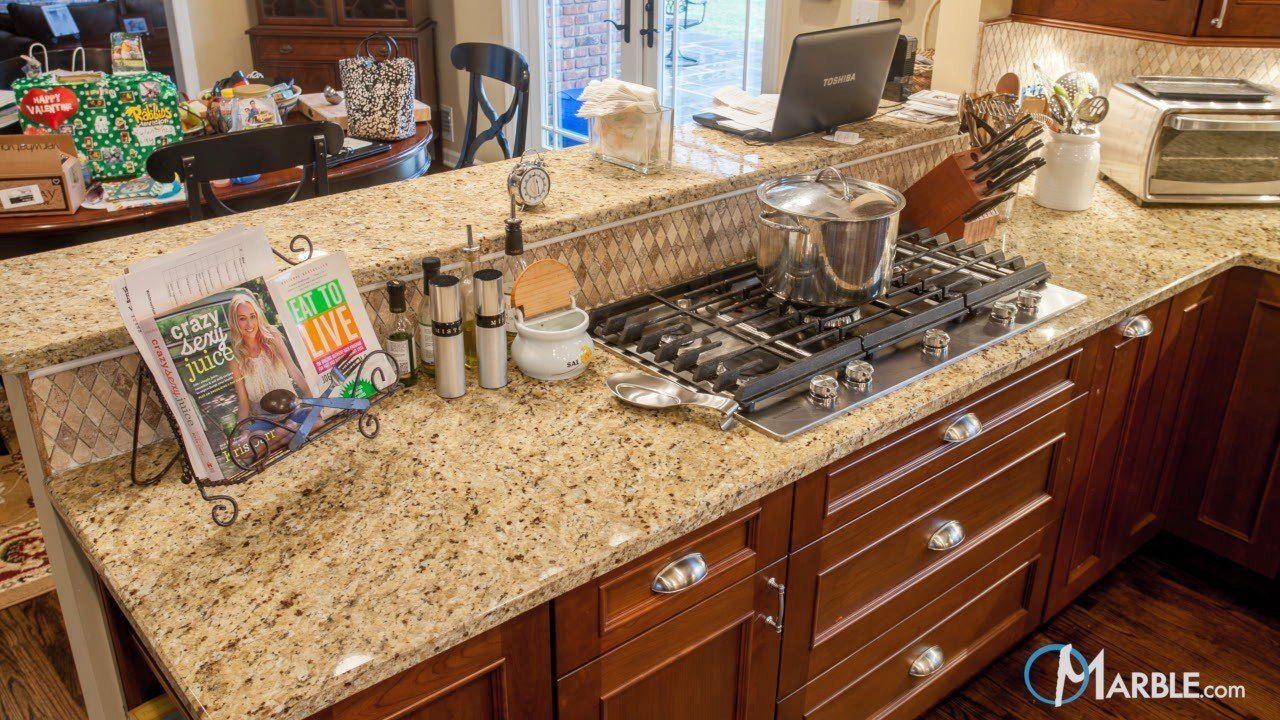 Santa Cecilia Granite Kitchen Countertops In A Large Kitchen