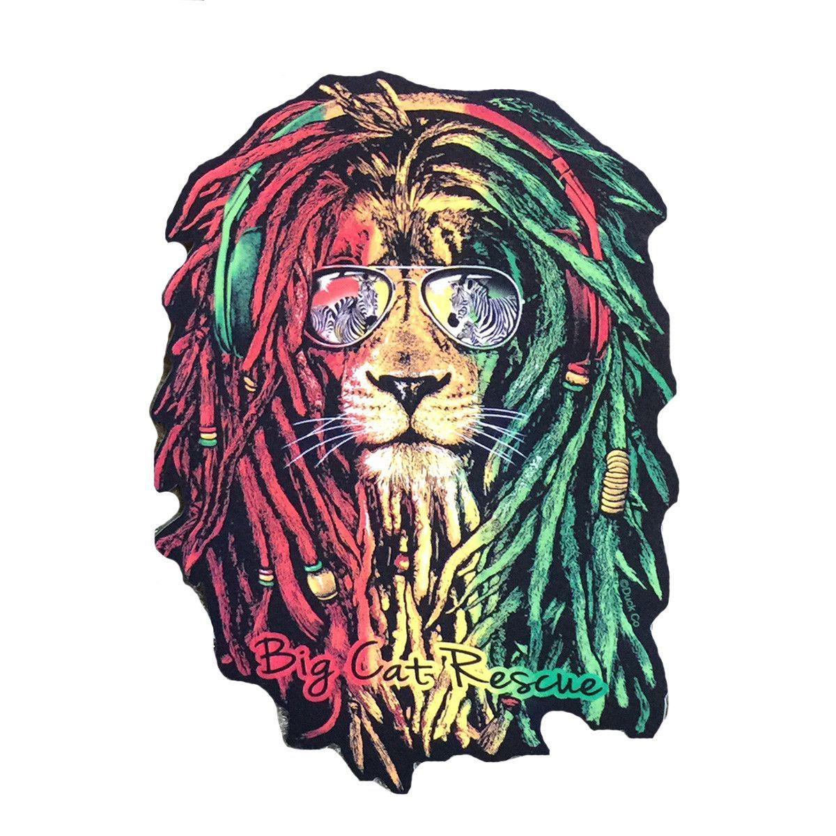 Sticker featuring rasta lion wearing sunglasses and the words big cat rescue 4 5 h