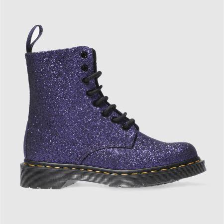 womens purple dr martens pascal 8 eye boot glitter boots