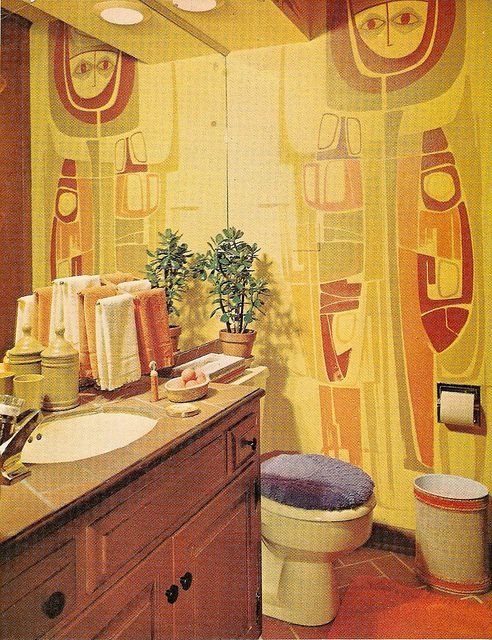 Tip In A Yellow Orange Green Red Bathroom The Logical Choice For The Lid Cover Is Purple Retro Room Bathroom Interior Design Vintage Interior