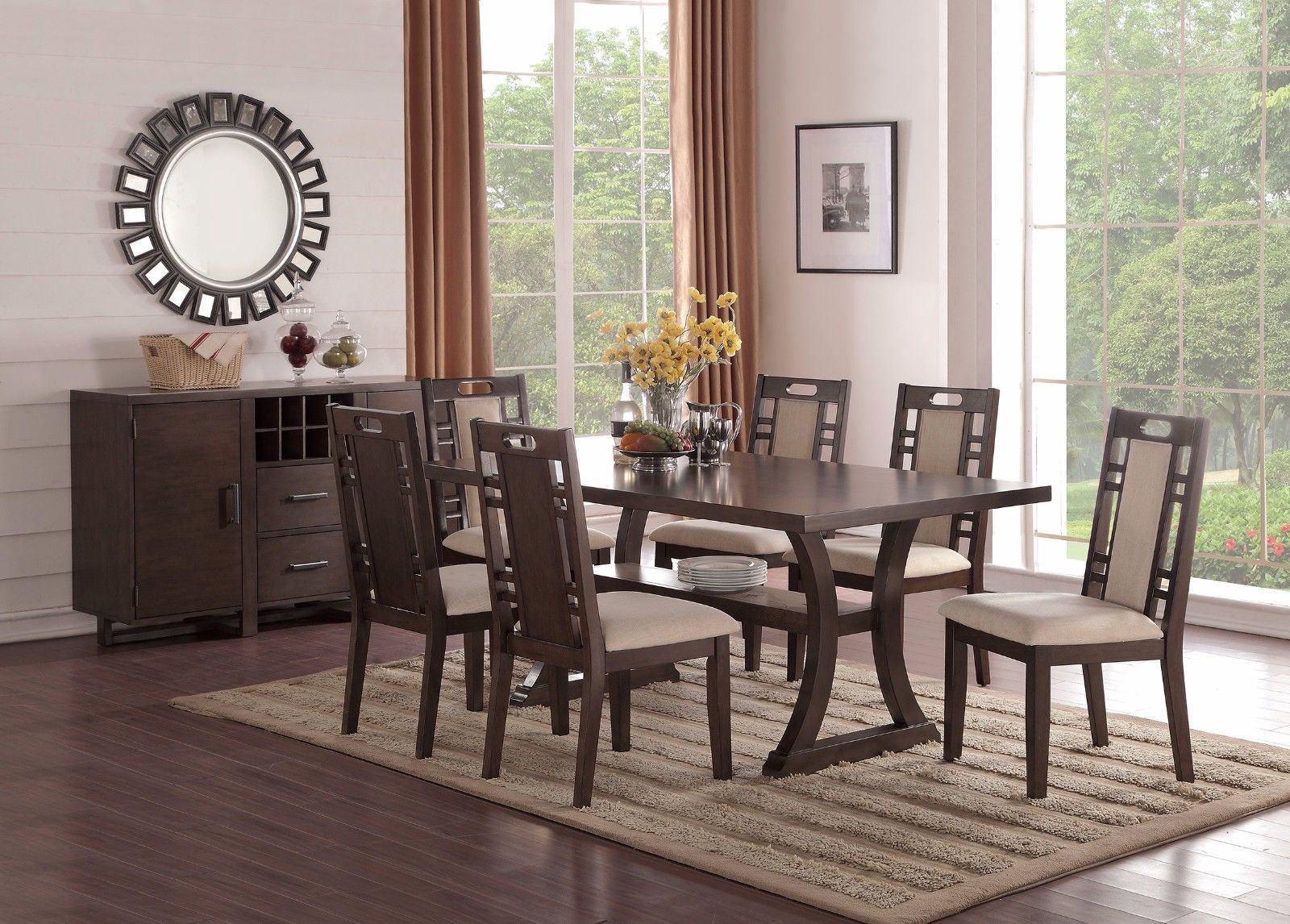formal look earthy grey hues padded chairs dining table w curved legs 7pc set