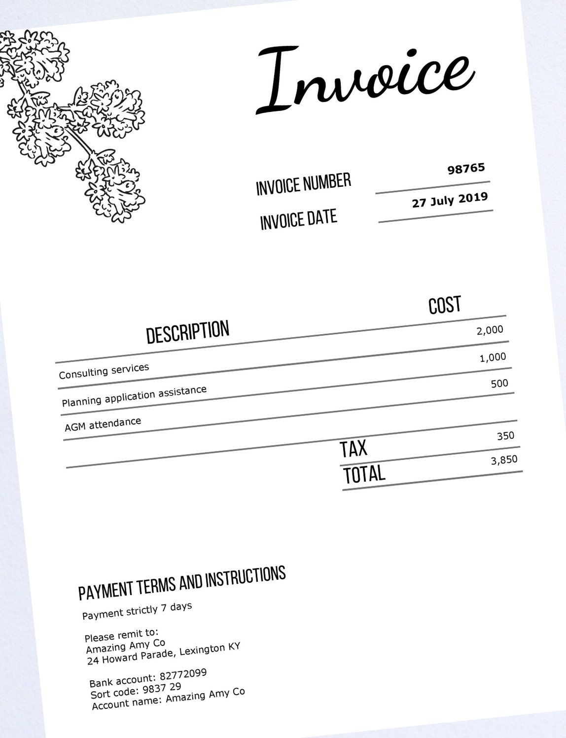Editable Pdf Invoice Template Professional Tax Invoice Etsy Invoice Template Lettering Design Printable Day Planner
